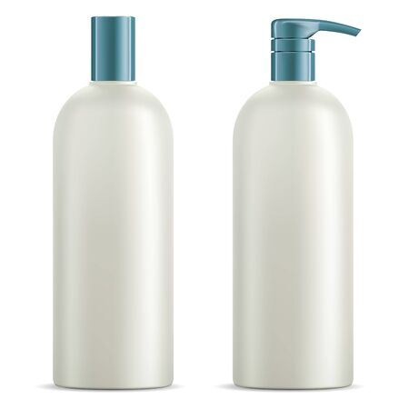 Cosmetic bottle set. Shampoo, shower gel package blank. Plastic 3d container with pump dispenser for luxury skin care oil or soap isolated on white background. Clear and empty template mockup