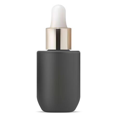 Serum dropper bottle. Black cosmetic aroma oil drop vial mock up. Medical eyedropper glass packaging blank for skin treatment with gold pipette. Health aromatherapy liquid container