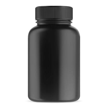 Black supplement bottle. Vitamin pill container vector template. Glossy plastic packaging mockup 3d design. Big medicament capsule jar for pharmacy. Bodybuilding sport drug can