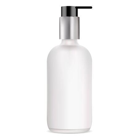 Pump bottle. White glass gel dispenser container. 3d package with silver metal cap for soap, shampoo. Beauty product packaging mockup illustration. Foam or cream tube with cover