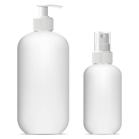 White cosmetic spray bottle mockup. Shampoo or soap plastic dispenser container template design isolated on white background. Shower gel, air lotion pump packaging set, clean and empty
