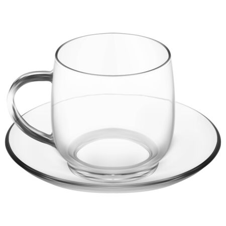 Glass mug with saucer. Clear cappuccino, latte coffee cup. Stylish restaurant glassware set mock up. Heat drink realistic transparent dishware. English morning tea or arabic caffeine cafe
