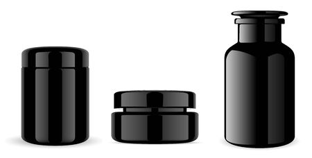 Black Glass Cream Jar. Medical Bottle. 3d Jar Design Illustration. Cosmetic Container Mockup. Plastic Pharmacy Tube for Skin Care Product. Clean and Empty Pharm or Medicine Bottles Template