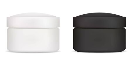 Black white cream jar mockup. Cosmetic lotion container template. Realistic round ointment package for your label and logo. Skin care scrub canister. Realistic round can for beauty product