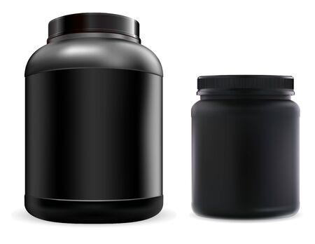 Protein supplement jar mockup. Black sport food powder container. Fitness nutrition canister design template for gym and workout. 3d vector bottle for amino bcaa acids and casein Vectores
