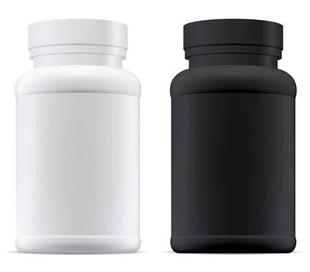 Black and white pill jar. Plastic supplement bottle mockup. Pharmaceutical tablet container illustration. Set of aspirin capsule package vector design. Protein powder pack
