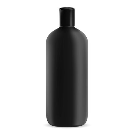Black shampoo bottle. Plastic cosmetic package. 3d realistic jar for shower gel for your brand. Liquid bath cream product tube template. Vector container blank template  イラスト・ベクター素材