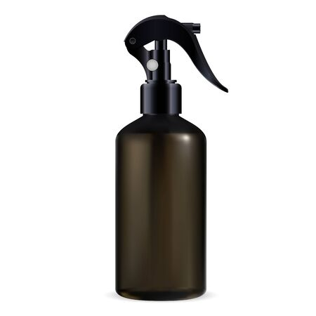 Pistol spray cosmetic bottle. Aerosol dispenser package template with trigger for cleaner. Shiny plastic realistic container blank with pump for bath perfume or medical water  イラスト・ベクター素材