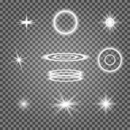 Star shine effect. Glow light flare. Bright sparkle effect on transparent background. Shiny lens lightning ray white glitter. Special glowing circle collection. Burst flash set. Headlamp flashlight