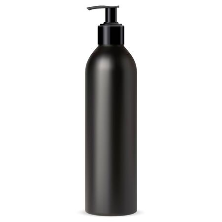 Pump bottle for cosmetic soap. Dispenser package for liquid cream from black plastic. Hand wash sanitizer template design. Isolated shampoo or lotion tube for face skin care