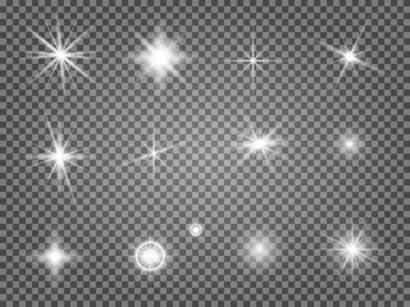 Sternfackel eingestellt. Objektivlichteffekt isoliert. Spezielle Sternenlichtstrahlensammlung. Abstrakte Kamera-Taschenlampe funkeln. Magische Sonnenstrahlung Vektorgrafik
