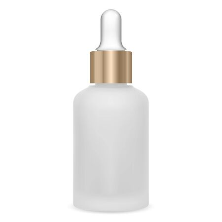 Serum dropper bottle. Cosmetic oil vial mockup. Medical collagen container blank  イラスト・ベクター素材