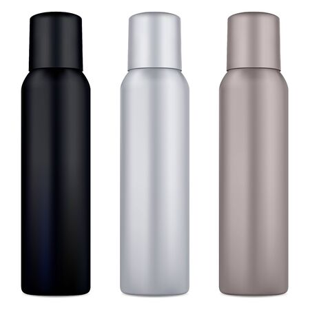 Air spray deodorant can. Cosmetic tin mockup blank. Aluminum metal container for hair aerosol with cap. Realistic 3d cylinder packaging for antiperspirant sprayer or toilet refresher. Odor template