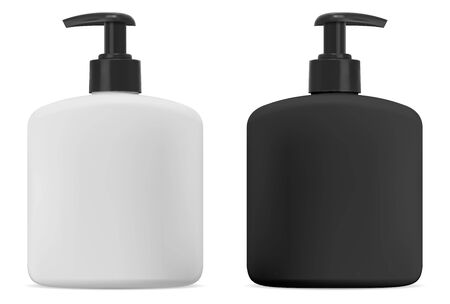 Black and white cosmetic bottle with pump for soap. Isolated liquid cream or gel packaging mockup for body wash. 3d illustration of shampoo package. Pet tube for antibacterial product ads design