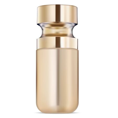 Premium serum cosmetic bottle gold template. Liquid aroma oil product flask design. Facial skin collagen moisturizing care. Anti aging q10 enzyme essence vial for woman face treatment therapy  イラスト・ベクター素材