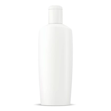 Shampoo bottle. White plastic cosmetic package mockup. Oval design tube with cap for liquid body milk. Skin cream container realistic 3d illustration. Baby wash moisturizer soap pack