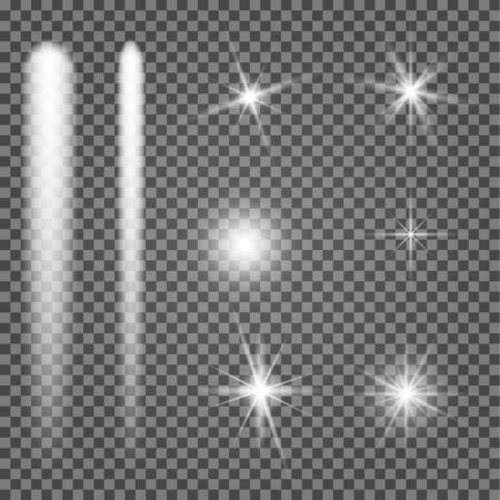 Star shine. Vector light spark glow. White flare effect illustration on transparent background. Shiny christmass sparkle. Special lens glitter element. Magic sunlight ray. Explosion burst