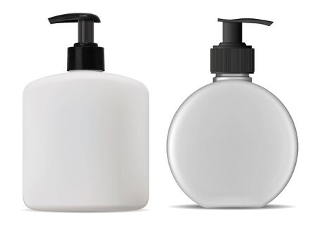 Shampoo, lotion, cosmetic bottle. Liquid Soap dispenser mockup concept for brand advertising. Natural beauty cream product design. Pump cap tube mock up for hand wash gel