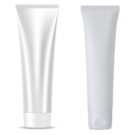 Kosmetische Tube Mockup-Vorlage in silberner Metallic-Farbe. Glas für Creme, Salbe, Maske, Ton, Feuchtigkeitscreme. Hochwertige Vektorverpackung 3D-Darstellung.