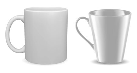 White mug mockup. Isolated vector coffee cup blank. 3d template of classic tea cup. Photorealistic porcelain packaging for corporate identity branding