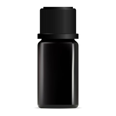 Black aroma oil dropper bottle. Cosmetic serum container design. Luxury collagen treatment vial mockup. Perfume pot. Liquid face care product packaging mock up
