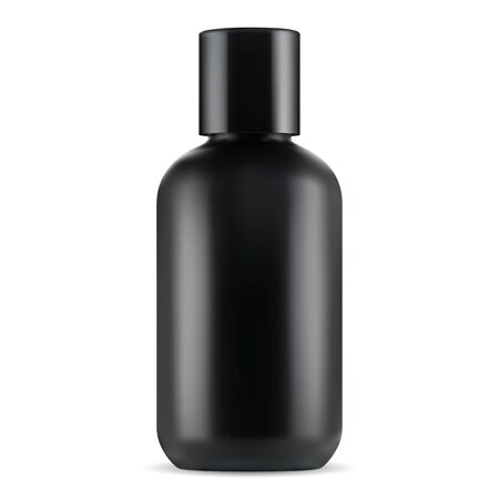 Black cosmetic bottle. Lotion, gel or shampoo jar blank. Plastic container for hair mask bath product. Liquid milk package template 3d mockup, elegant and shiny