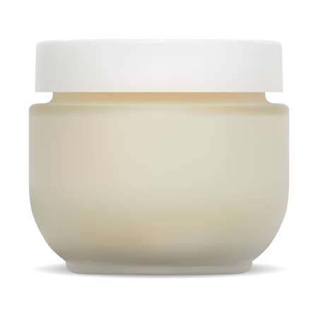 Cosmetic jar mockup. Cream packaging with plastic lid. Face skin creme glass bottle design without label. Makeup powder container for corporate branding. Beauty product package blank