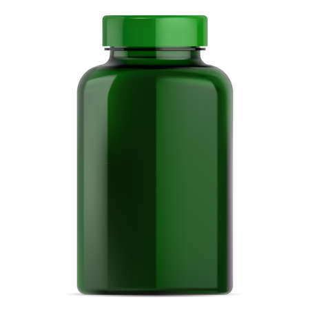 Pill bottle mockup. Green plastic supplement jar for vitamin drug. Small round package with cap for pharmaceutical medicament. Medical remedy container blank design