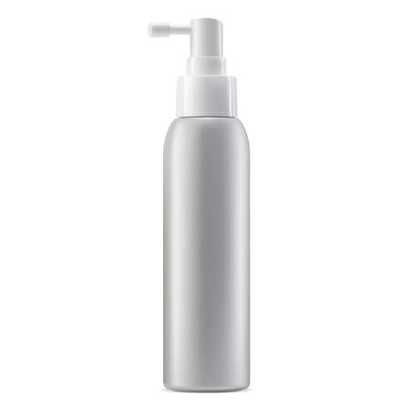 Spray bottle mockup. Cosmetic package with dispenser vector template illustration. Realistic aerosol container blank on white background. Medical tube with mist cap for face beauty product