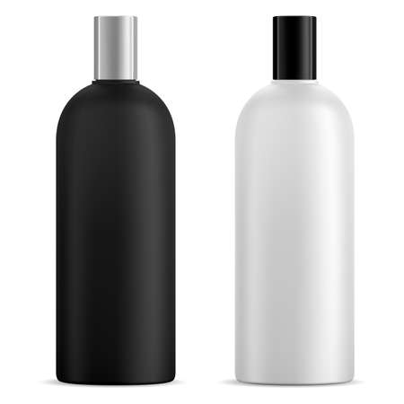 Black and white shampoo bottle mockup, vector blank. Cosmetic product container design for liquid gel, hear mask. Body milk shiny tube 3d mock up for skin moisturizer, bath hygiene care collection