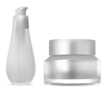 Set of cosmetic product packaging. White bottle with pump dispenser for lotion or skin care gel. Cream jar template for moisturizer balm. Healthcare and bath shower pack isolated on background