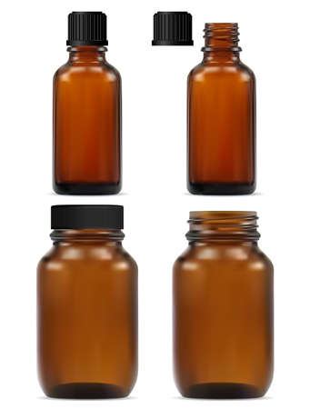 Brown glass apothecary bottle. Medicine jar mockup design for natural medicament. Vector flacon set for fish oil and e juice. Amber blank with black cap for science, pharmaceutical drug or cosmetic