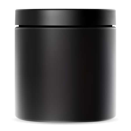 Black jar. Plastic container for cream. Cosmetic packaging mockup with glossy lid for whey protein powder or premium sport supplement. Cylinder tube package for bodybuilding vitamin or shake Иллюстрация