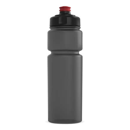 Water flask mockup. Plastic container for fitness energy drink. Cycling equipment cylinder tin with cap. 3d template of outdoor camping product promotion. Realistic bike bottle. Yoga drink cup Иллюстрация