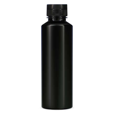 Black bottle. Plastic package for shampoo. Elegant cosmetic container template for bath product. 3d vector tube illustration on white background. Realistic hair balm pack with cap Иллюстрация