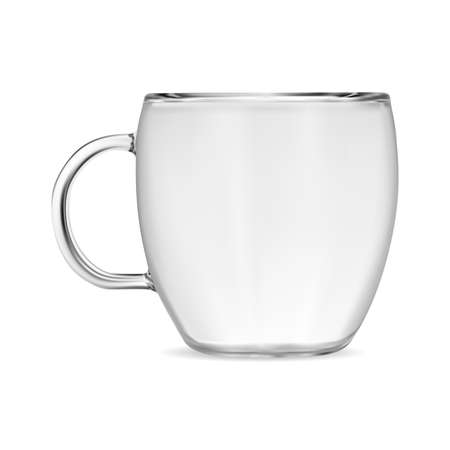 Clear glass coffee mug. Transparent tea cup, isolated vector illustration. Hot or ice cappuccino drink coffeecup with handle. Teacup blank classic drink for business identity, object at front