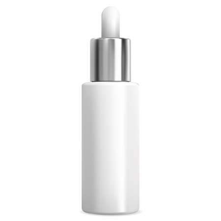 Dropper bottle for eye serum. Essential oil vial white blank for liquid face care treatment. Luxury container with pipette for collagen. Medical product flask with silver metal eyedropper Иллюстрация