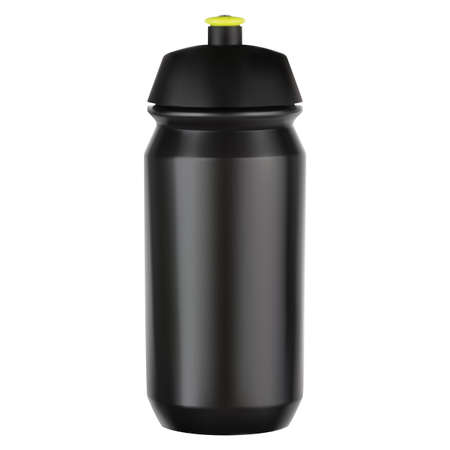 Sport water bottle. Bicycle equipment black plastic blank. Reusable bike cycle vessel for tourism, adventure and gym workout on white background