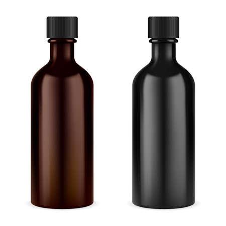 Medicine syrup bottle. Brown glass screw cap jar. Essential oil vial. Prescription suspension or cough tincture container blank in black or brown color Stock fotó - 157176992
