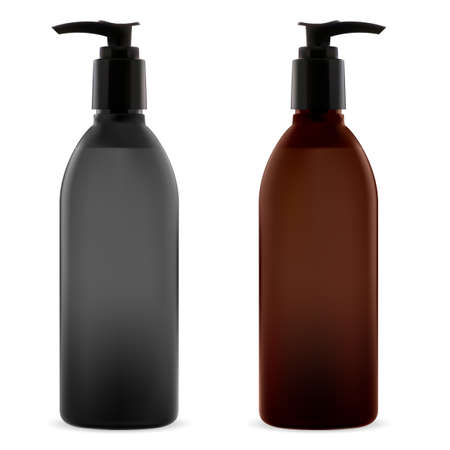 Bottle pump. Cosmetic product dispenser. Shampoo or gel plastic container vector mockup. Blackand brown liquid soap pack template. Beauty cleanser transparent mockup. Pharmaceutical treatment