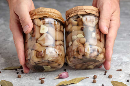 Marinated mushrooms in hands. Canned mushroom food. Pickled forest cep in bottle. Organic edible mushrooms in marinate closeup. Delicious vegetarian snack, gourmet appetizer in tin