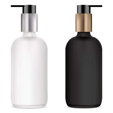 Pump bottle for cosmetic serum, black and white mockup. Clear glass bottles with plastic dispenser for cream, gel or liquid soap. Foundation base cosmetics container. Body skin product small packaging
