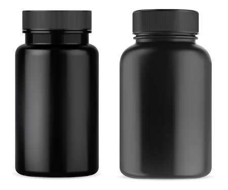 Black pill supplement bottle. Vitamin jar plastic mockup. Black medicine container with cap isolated on white background. Remedy capsule package mock up template. Sport tablet bottles
