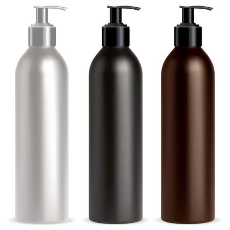 Pump bottle. Dispenser cosmetic shampoo mockup. Black, white and brown realistic pump dispenser container, vector pack. Antibacterial lotion or foam sanitizer packaging for ads isolated on white