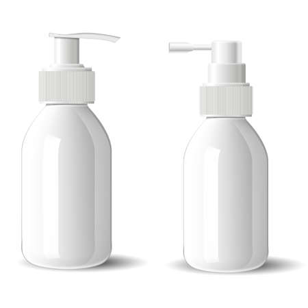 Pump bottle mockup. Cosmetic spray glass bottle blank. Glossy container for beauty serum with pump dispenser on white background. foundation cream packaging mockup set, woman skin care