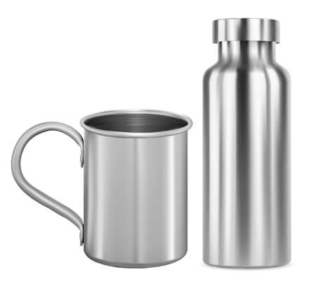 Stainless steel mug and metal flask, thermo bottle mockup. Aluminum camping cup with handle, reusable drink container, sport product can design. Silver vacuum tin, clean glossy illustration, identity