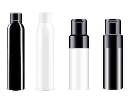 Spray bottle. Vector can, aluminum tin deodorant blank. Cosmetic spray container mockup. Realistic aluminum freshener tube mock up. Round refresher package. Toilet odor or antiperspirant Vektorgrafik