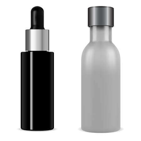 Serum bottle dropper cosmetic mock up. Black glass vial 3d vector. Collagen packaging flask with pipette with silver cap. Medical bottles design blank, beauty container