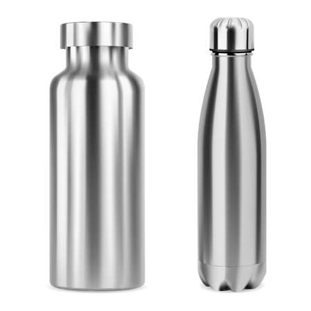 Metal whater bottle. Stainless steel bottles mockup isolated on white. Aluminum thermo flask blank, camping product. Silver metal tin for brand promotion. Empty can template, glossy package