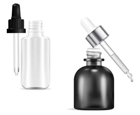 Cosmetic dropper bottle. Serum bottles with drop pipette mockup isolated on white. Essential oil vial black and transparent glass. 3d flask for medicine, liquid collagen flacon illustration Illustration